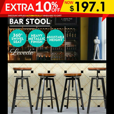 4X Wooden Bar Stools Swivel Barstool Kitchen Home Dining Chairs Wood Steel Black