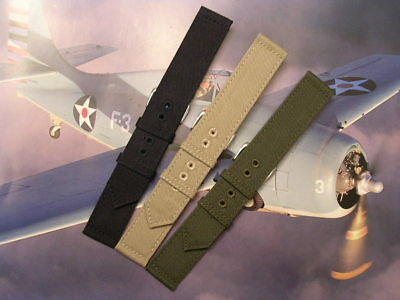 NATO ® 2pc WWII Canvas Military army watchband Combat strap stitch IW SUISSE USA