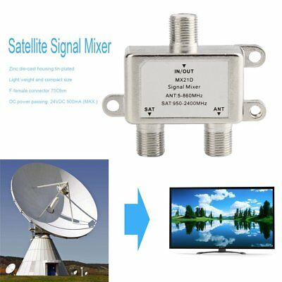 2 Ways Satellite Splitter TV Signal Cable TV Signal Mixer SAT/ANT Diplexer JO
