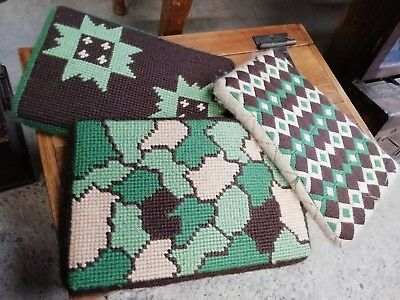 3 Vintage Welsh Chapel Pew Cushions/kneelers Handworked Tapestry/needlepoint