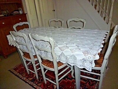 Vintage Art Deco White Hand Crochet Diamond Lace & Linen Inserts Tablecloth