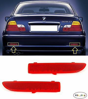 Bmw 3 E46 Coupe 1999 - 2003 2X Rear Bumper Reflector Lens Left + Right