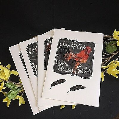 Set Of 4 Chicken Cards Birthday Card Country Lover Farm Lover