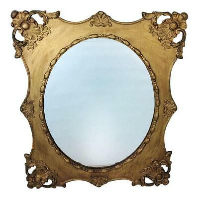Antique Victorian Ornate Gold Gilt Floral Carved Wood Wall Oval Mirror 21x26
