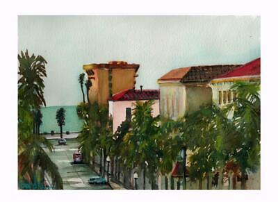 California Street Downtown Ventura  watercolor Art Print Signed Limited Edition