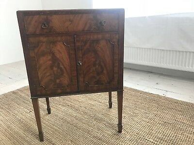 antique vintage walnut cabinet bedside table with drawer and cupboard