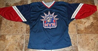 release date: 59eb2 49a63 VINTAGE NEW YORK Rangers Lady Liberty Jersey Center Ice Authentic Starter  52-R