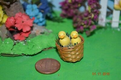 Easter Miniature Dollhouse Basket full of chicks
