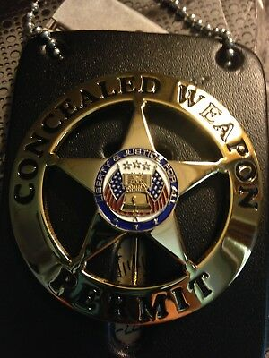 Concealed Weapon Permit Gold Colored Badge W/leather Holder & Neck Chain