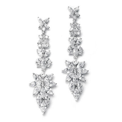 Mariell Bridal Earrings with Marquis CZ Clusters, Wedding or Pageant Chandeliers