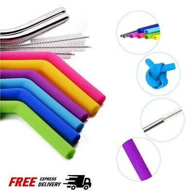 "10.5"" Long Reusable Metal Silicone Drinking Straws For 30 OZ Tumbler Cups 8 Set"