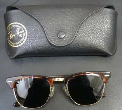 9e22fd8b61 Authentic Ray-Ban CLUBMASTER Sunglasses RB3016 W0366 49 21 Tortoise Green  case