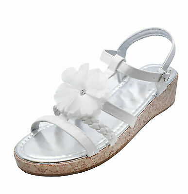 Kids Girls Childrens White Flower Wedge Sandals Summer Holiday Shoes Sizes 8-4