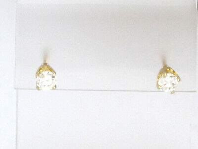 14k Yellow Gold Round Diamond Solitaire Stud Earrings .66ct