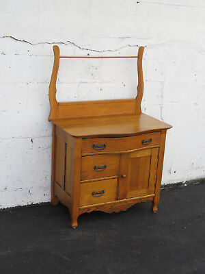 Late 1800s Solid Oak Small Wash Stand Dresser 8691
