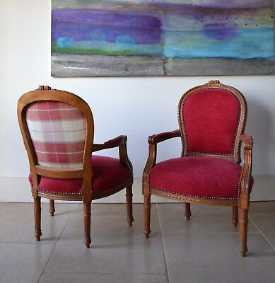 A Pair of French Louis XVI Fauteuil Hall Side Table Colefax Fabric Sofa Armchair