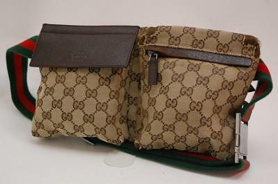 afd7cfd571be Auth Gucci GG Canvas Monogram Waist Belt Bum Bag Fanny Pack Shelly Brown  605a