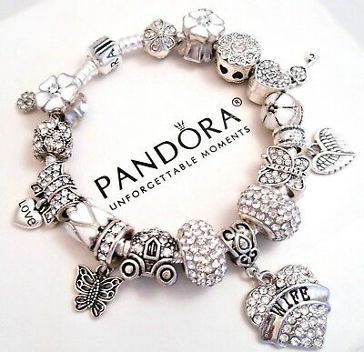 Authentic Pandora Bracelet Silver Wife Love Story With White European Charms.NIB