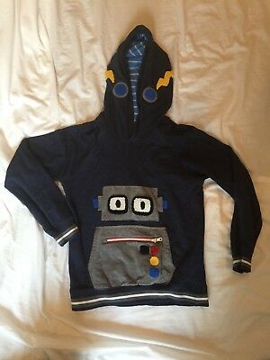 Hanna Andersson Robot Navy Blue Hoodie Sweater 130
