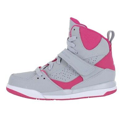 bada9c6557fa4 Girls Jordan Flight 45 High Gp Wolf Grey Pink 524863 019 Kids Us Sizes