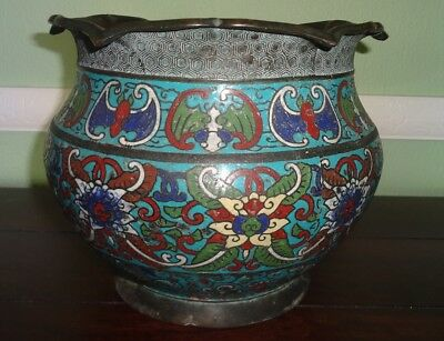 Antique Chinese Japanese Cloisonne Enamel Brass Bronze Jardiniere Bats (as-is)