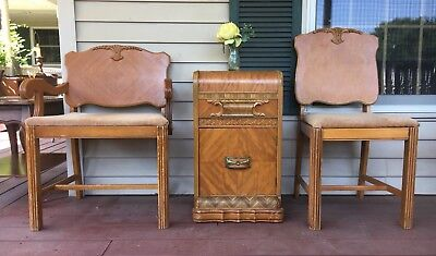 1930`S 40`s ART DECO WATERFALL NIGHTSTAND END TABLE w/MATCHING CHAIRS