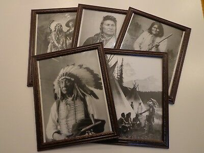 Native American framed pictures, set of 5