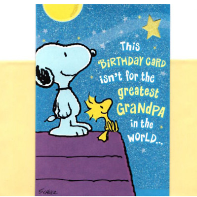 Happy Birthday Best Grandpa In Universe Snoopy Woodstock Hallmark