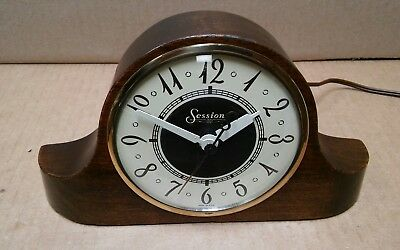 Vintage art deco Sessions walnut case electric mantel clock Model 3W - serviced