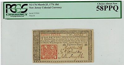 New Jersey Colonial Currency Mar 25 1776 Issue 18d Pence PCGS 58PPQ