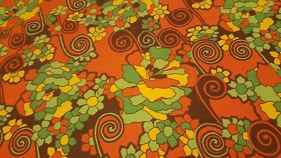 Awesome RARE Vintage Mid Century retro 70s 60s psychedelic bright floral fabric!