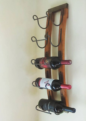 Wall Hanging Wine Rack Rustic Wood Metal 5 Bottle Display Storage