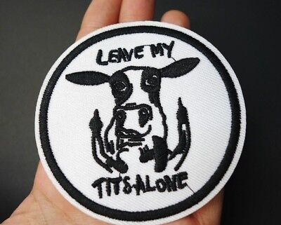 Leave My Tits Alone, Vegan Feminism Embroidered Patch Iron-On/Sew On Applique