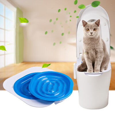 Cat Toilet Training Kit System Litter Tray Seat Kitten Cleaning Supply