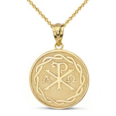 14k Yellow Gold Ancient Christian Chi Rho Px Symbol Pendant Necklace