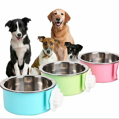 Hang-on Bowl Metal Crate Cage Food Water Bowl Stainless Steel For Pet Dog Cat TU
