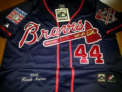 6fa1dd6c2 NAVY Brand New Atlanta Braves  44 Hank Aaron Dual Patch Stitched Majestic  Jersey