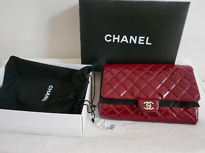20b21940fa3b7 LAST CHANCE 100% Auth CHANEL Patent Quilted Clutch with Chain Flap ...