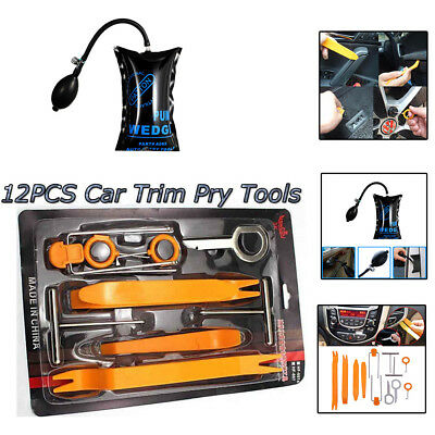 12 pcs Open Dash Panel Pry Pump Wedge Molding Trim Tools Kit For Car Door Open