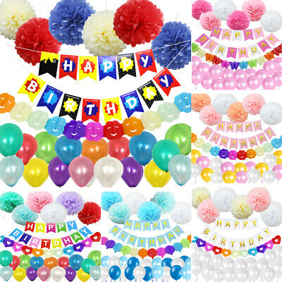 108 Mix Banner Happy Birthday Bunting Garland Paper Pompoms Latex Balloons