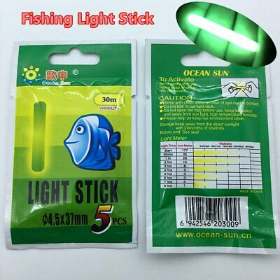 50x 4.5*37mm Float Glowing Stick Night Fishing Green Fluorescent Light US Stock