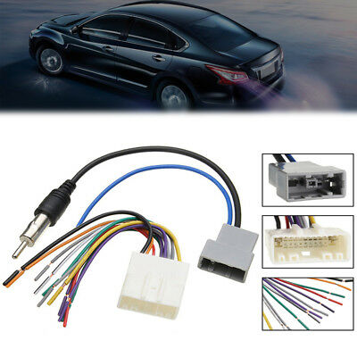 Car DVD Radio Install Stereo Wire Harness Cable Plug Antenna Adapter For Nissan