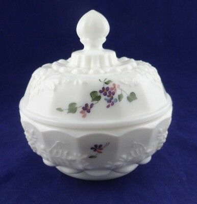 Vintage FENTON Milk Art Glass Covered Candy Dish Flowers Hand Painted