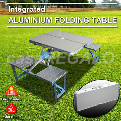 Folding Camping Table + 4 Chairs Set Portable Picnic Outdoor Garden BBQ Setting