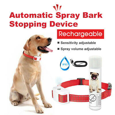 Rechargeable Dog Citronella Anti Bark Spray Collar Training Stop Barking Humane