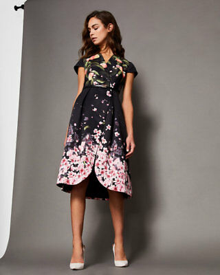cheap sale official site classic fit NWT TED BAKER FREDICA PEACH BLOSSOM WRAP MIDI black DRESS size 5 ...