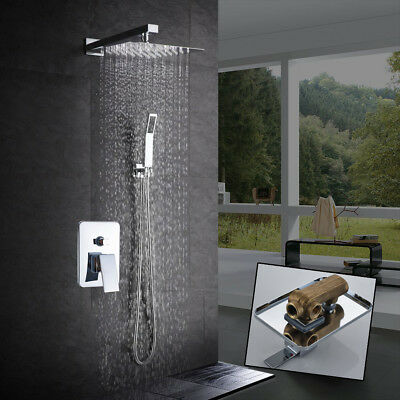 8'' Chrome Rain Shower Head Faucet Wall Mount Hot Cold Mixer Tap Set Hand Spray