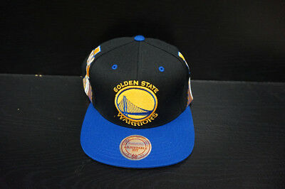 new products ca596 c6a2c Golden State Warriors Mitchell and Ness Snapback Hat Custom Side Design
