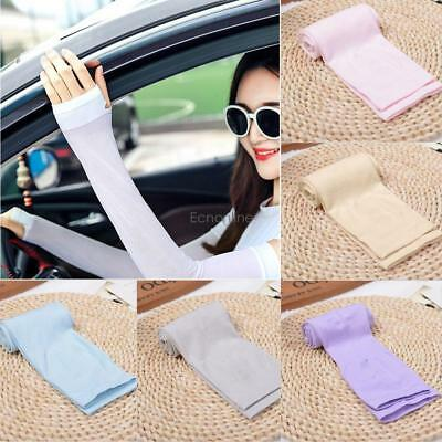 Cooling Arm Sleeves Cover UV Sun Protection Outdoor Half Finger Ice Silk EO56