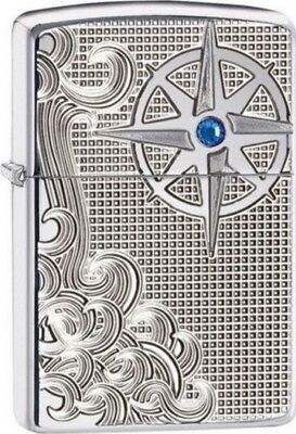 Zippo 28809 Armor Lighter Luxury Waves Blue Crystal Lighter RARE & DISCONTINUED